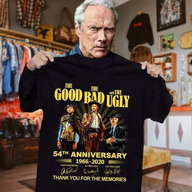 The Good The Bad And The Ugly 54th Anniversary Fans Thank You For The Memories Signature Black T Shirt Men/ Woman S-6XL Cotton