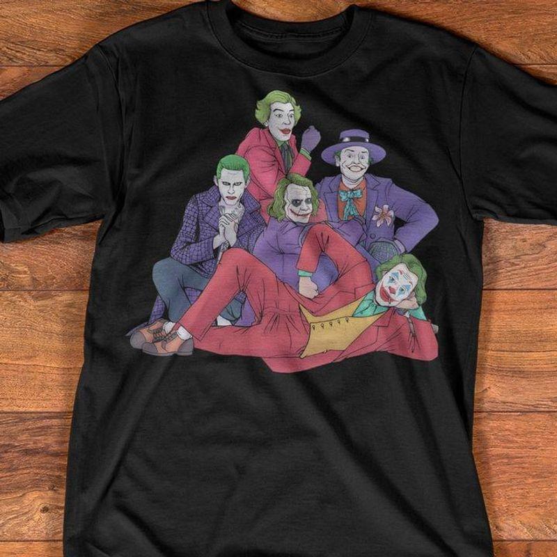 The Jokes Club Drawings Gotham City Jack Nicholson Gotham Joker Scary Halloween Black T Shirt Men And Women S-6XL Cotton