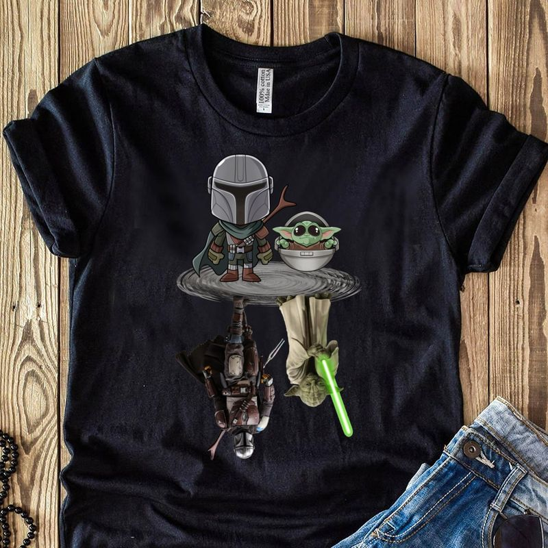 The Mandalorian Baby Yoda Water Reflection Mirror T Shirt Black
