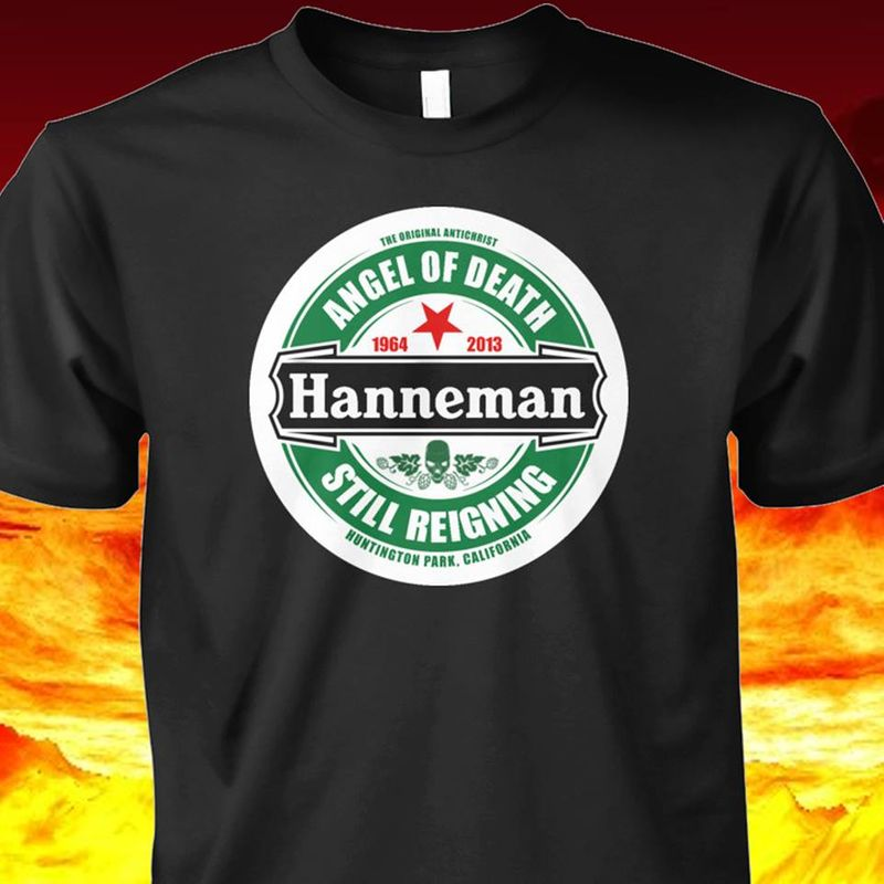 The Original Antichrist Angel Of Death Hanneman Still Reigning Huntington Park California T-shirt Black B7