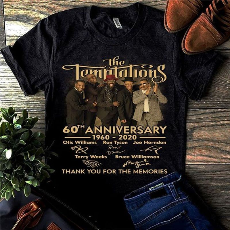 The Temptations 60Th Anniversary 1960 To 2020 Signatures Thank You Black T Shirt Men/ Woman S-6XL Cotton