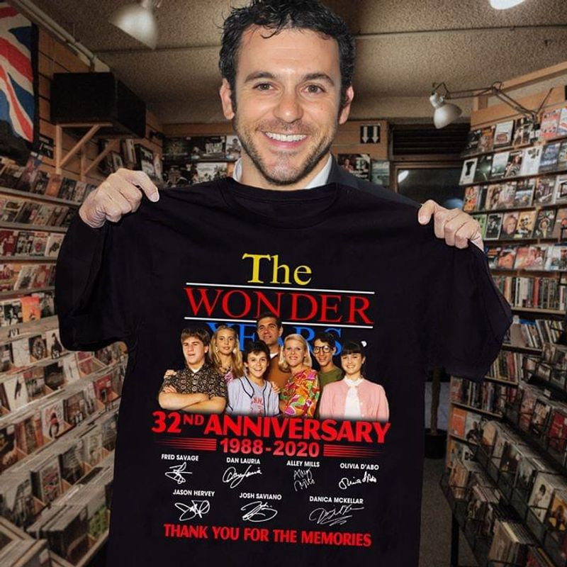 The Wonder Years Fans 32rd Anniversary 1988 2020 Signature Thank You For The Memories Black T Shirt Men And Women S-6xl Cotton