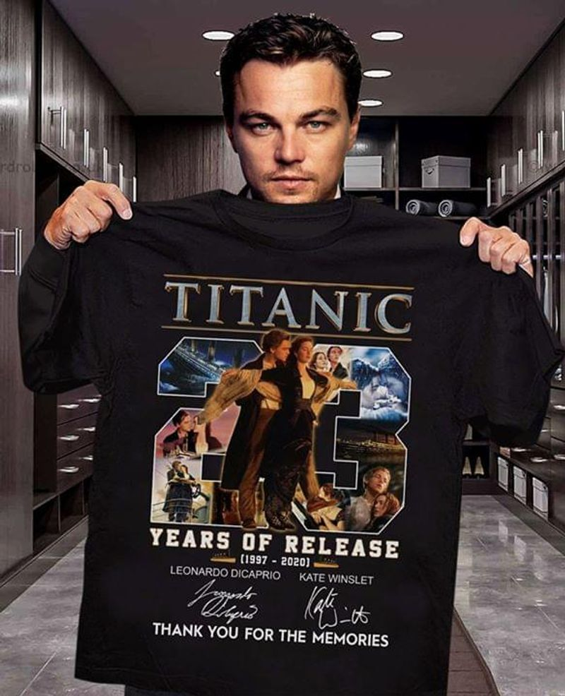 Titanic Movie Lover 23 Years Of Release Thank You For The Memories Signature Black T Shirt Men And Women S-6XL Cotton