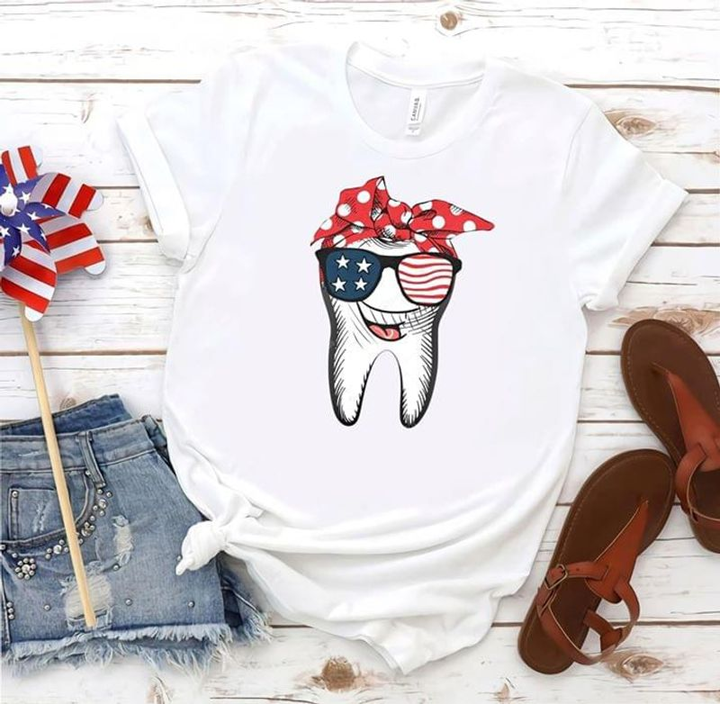 Tooth Smiling Wearing Glass Ribbon Us Flag 4Th Of July Independence Day White T Shirt Men/ Woman S-6XL Cotton