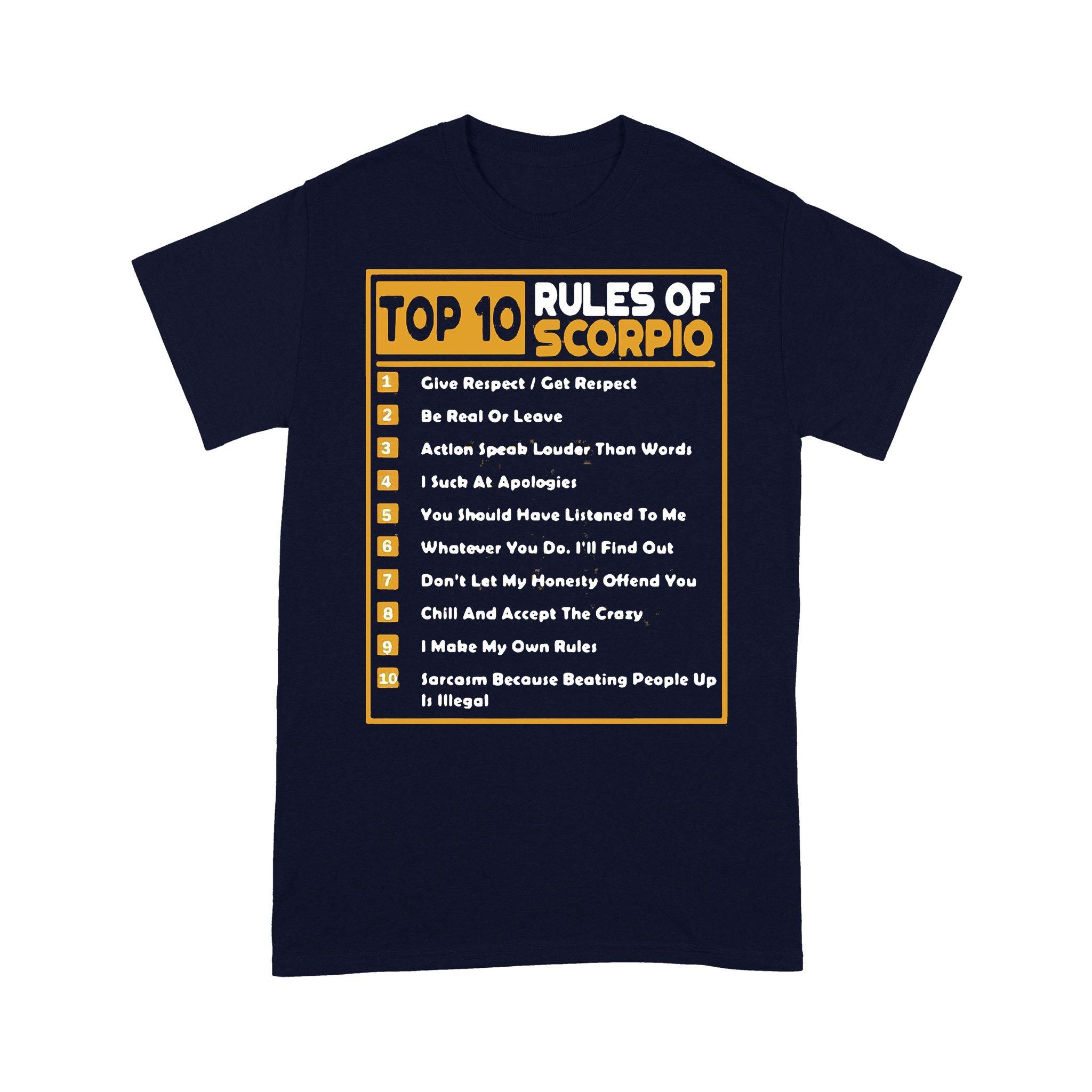 Top 10 Rules Of Scorpio Birthday T-shirt