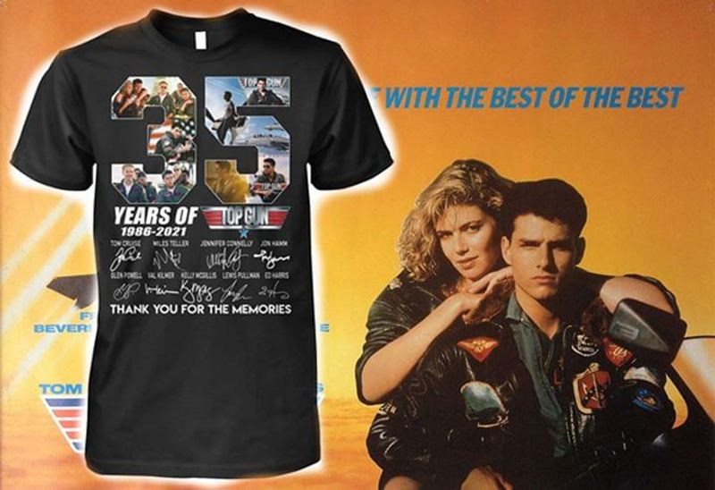 Top Gun 35th Anniversary Characters Signature Thank For Memories Black T Shirt Men And Women S-6XL Cotton