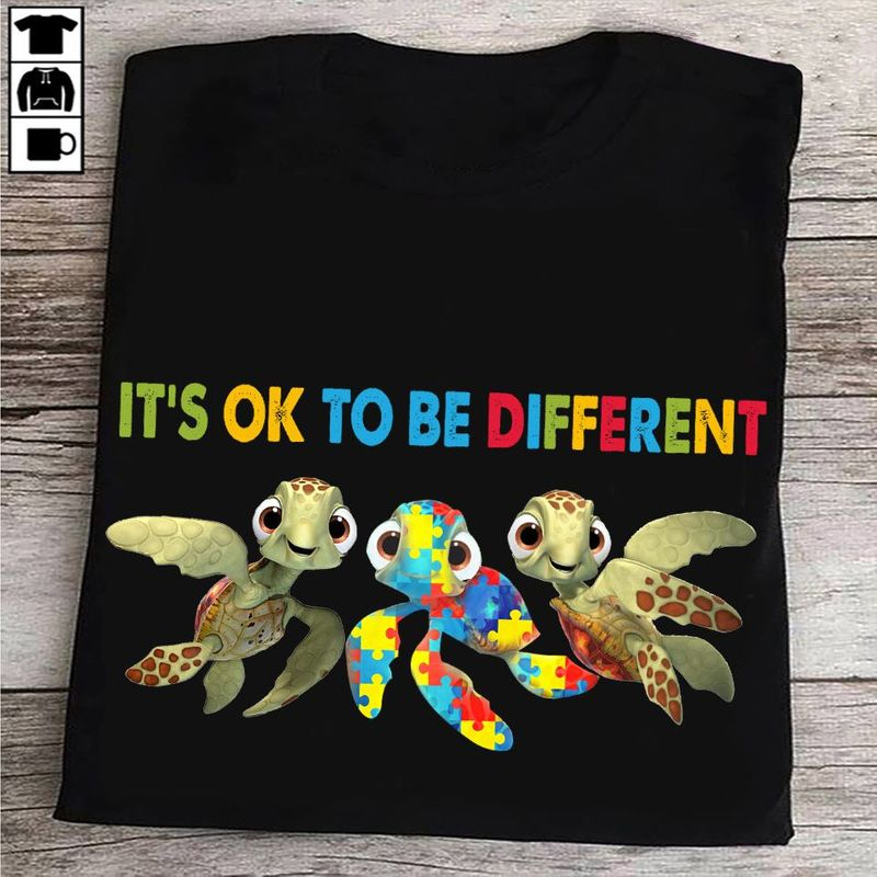 Turtle Autism It's Ok To Be Different T-shirt Black A5