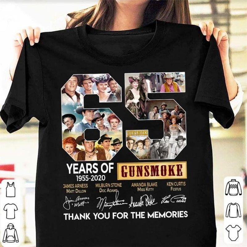 Tv Series Tee Gunsmoke Fans Shirt 65 Years Of 1955 2020 Gunsmoke Signature Black T Shirt Men And Women S-6XL Cotton
