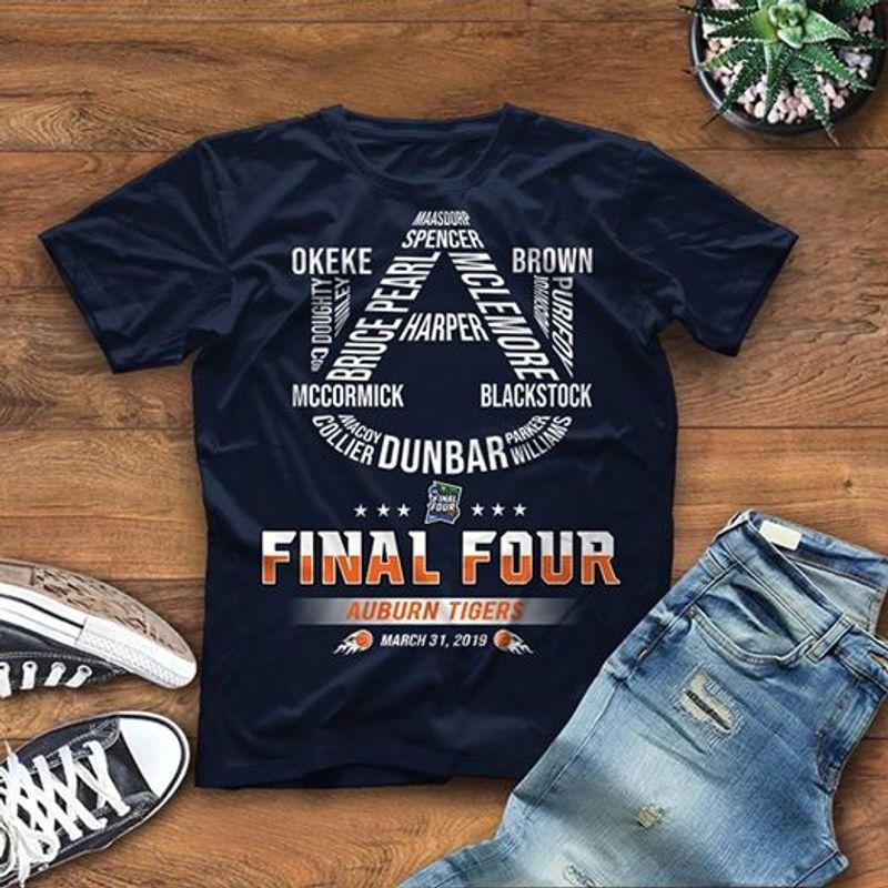 Ua Final Four Auburn Four Auburn Tigers March 31 2019 T-shirt Black A4