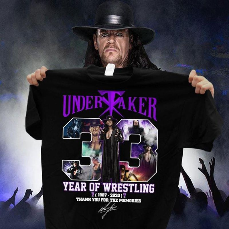 Undertaker 33 Years Of Wrestling Thank You For The Memories Signatures Black T Shirt Men And Women S-6XL Cotton