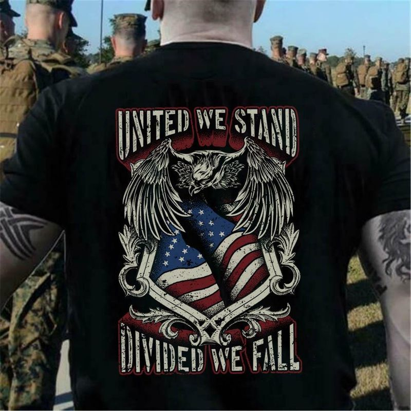 United We Stand Diving We Fall Independence Day 4th Of July Black T Shirt Men/ Woman S-6XL Cotton