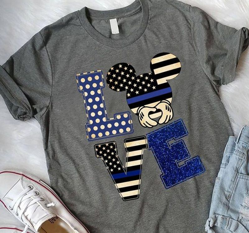Us Police Support Love Mickey Mouse Thin Blue Line Flag Back The Blue Gray T Shirt Men And Women S-6XL Cotton