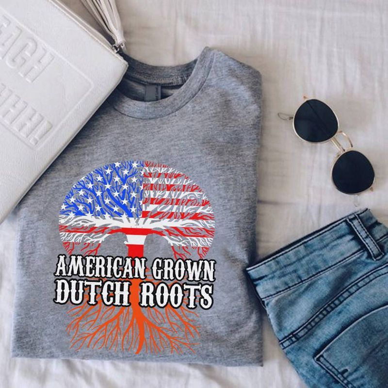 Usa Flag Tree America Crown Dutch Roots T-Shirt Grey A5