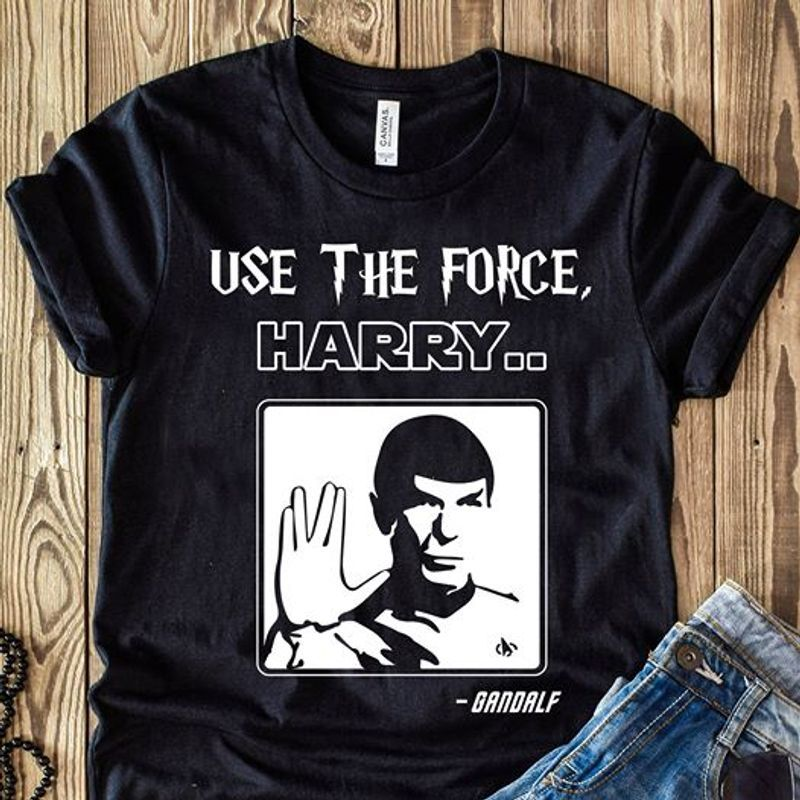 Use The Force Harry Gandalf T-shirt Black A5