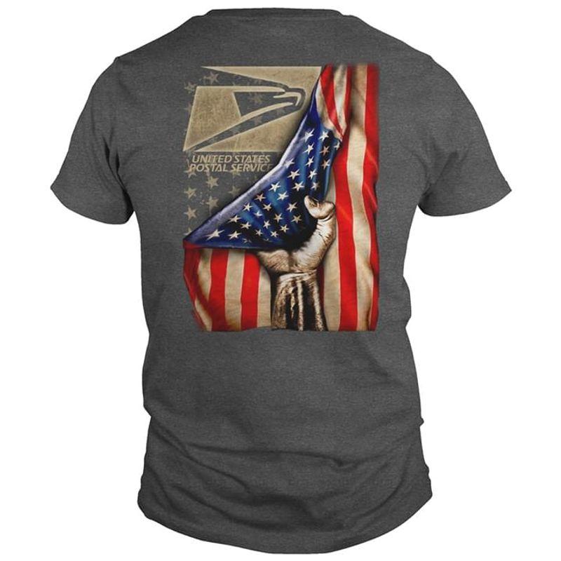 Usps United States Postal Service Postman Pride American Flag Us Pride Back Side Dark Heather T Shirt Men And Women S-6XL Cotton