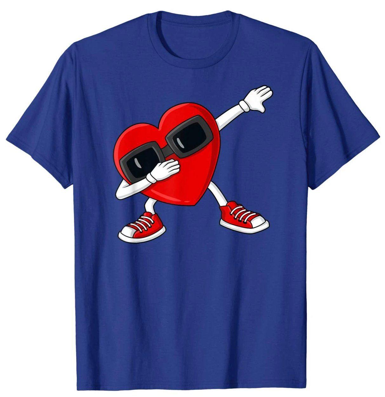 Valentines Day Dabbing Heart Funny Boys Girls Kids T-Shirt