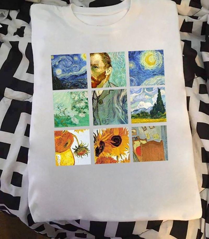 Van Gogh Artwork Starry Night Wheat Field With Cypresses Wall Decor Vertical White T Shirt Men And Women S-6XL Cotton