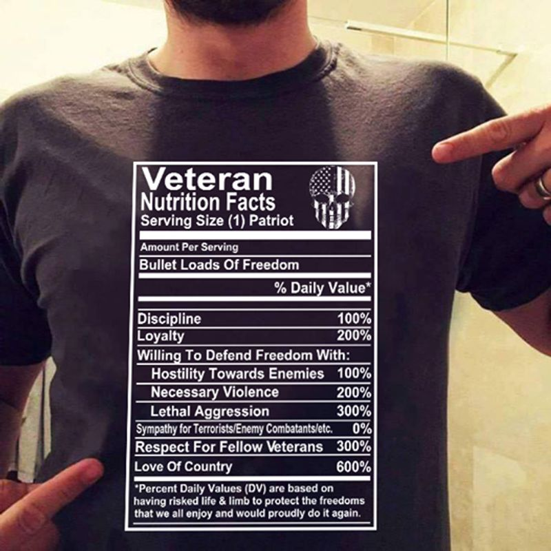 Veteran Nutrition Facts Serving Size 1 Patriot Amount Per Serving Bullet Loads Of Freedom % Daily Value T-shirt Black A4