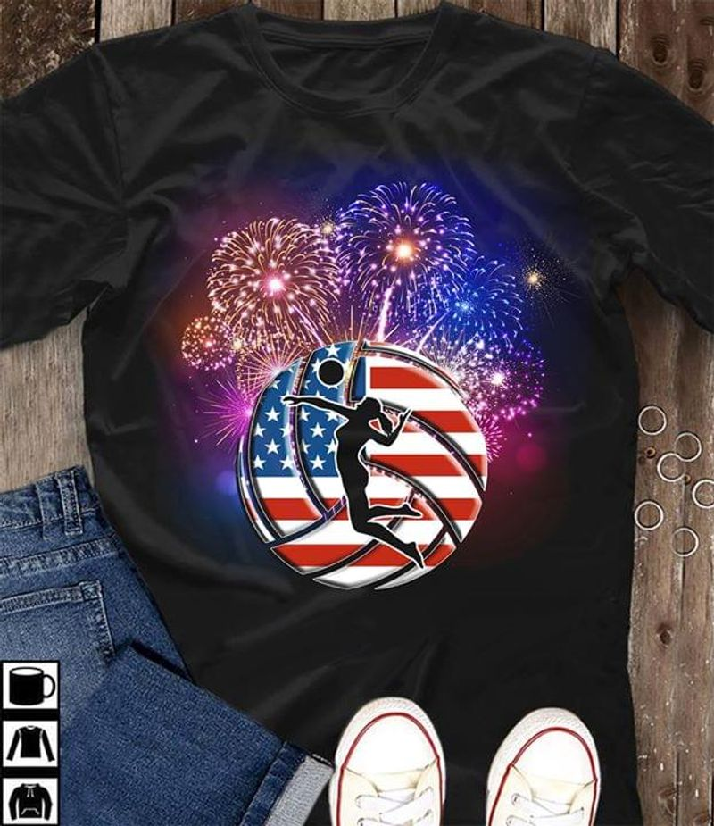 Volleyball Love American Flag Firework Happy Independence Day Black T Shirt Men And Women S-6XL Cotton