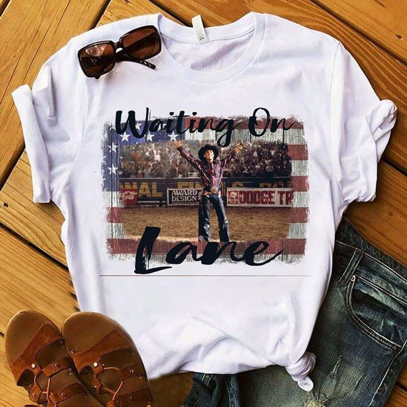 Waiting On Lane Male Standing In Stadium United States Flag Independence Day White  T Shirt Men/ Woman S-6XL Cotton