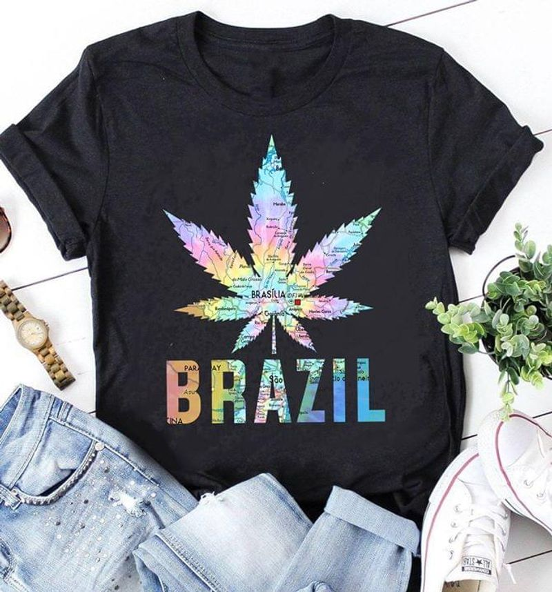 Weed Marijuana Tree Brazil Funny Colorful Map Black T Shirt Men And Women S-6XL Cotton