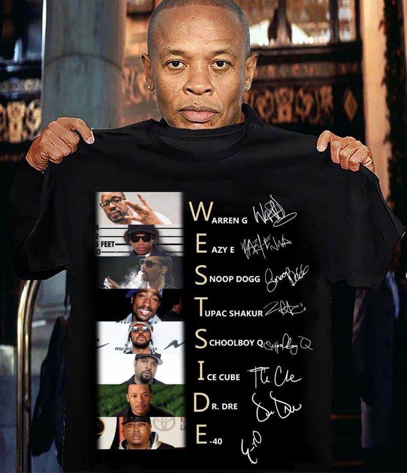 Westside Warren G Eazy E Snoop Dogg Tupac Shakur Schoolboy Q Ice Cube Dr DreT-shirt Black A4