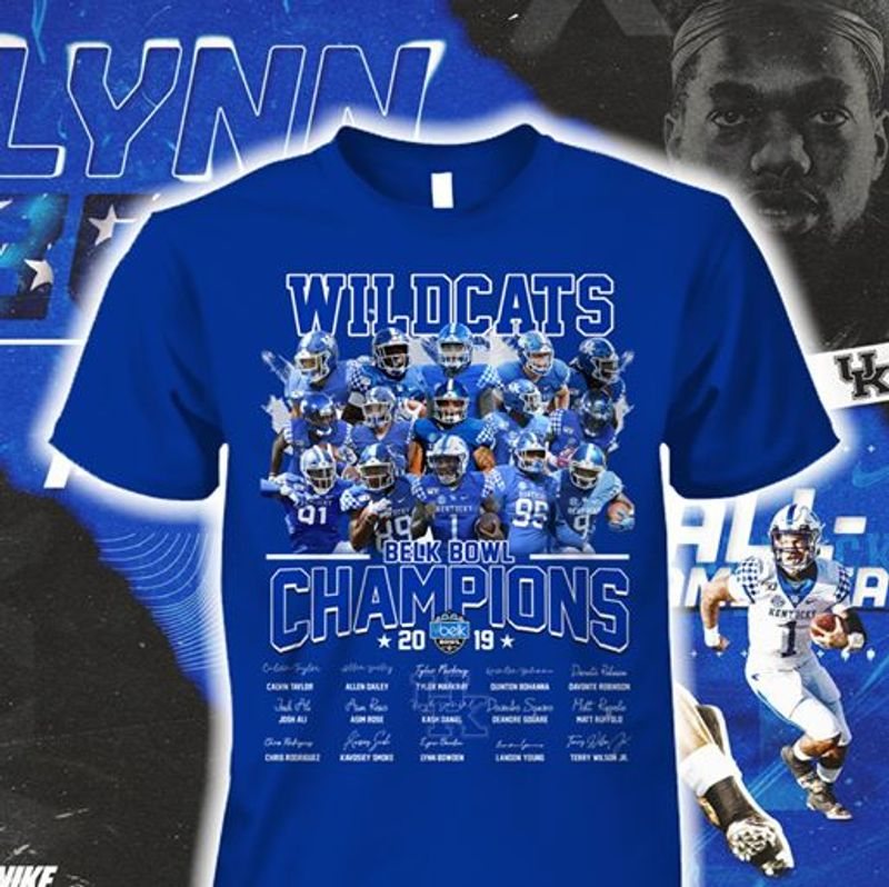 Will Cats Belk Bowl Champions 2019  T Shirt Blue B1