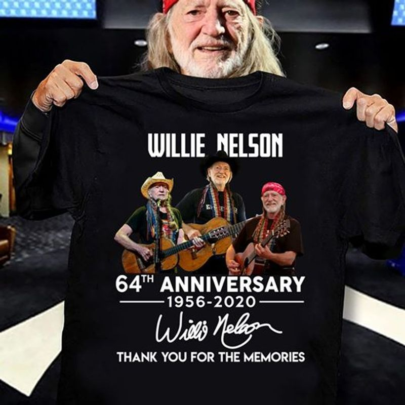 Willie Nelson 64th Anniversary 1965 2020 Signatures Thank You For The Memories T Shirt Black