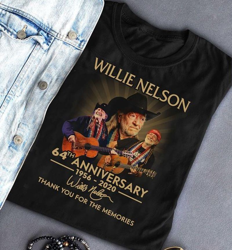 Willie Nelson 64th Anniversary Thank You For The Memories Signature Black T Shirt Men/ Woman S-6XL Cotton