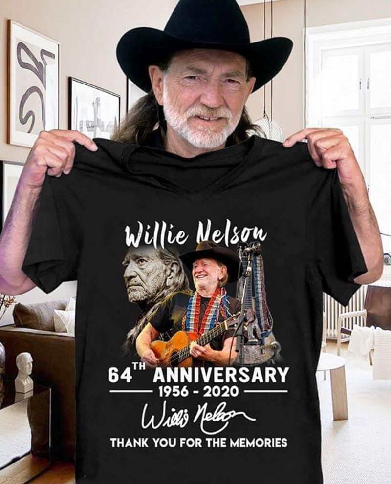 Willie Nelson Fans 64th Anniversary Thank You For The Memories Signature Black T Shirt Men/ Woman S-6XL Cotton