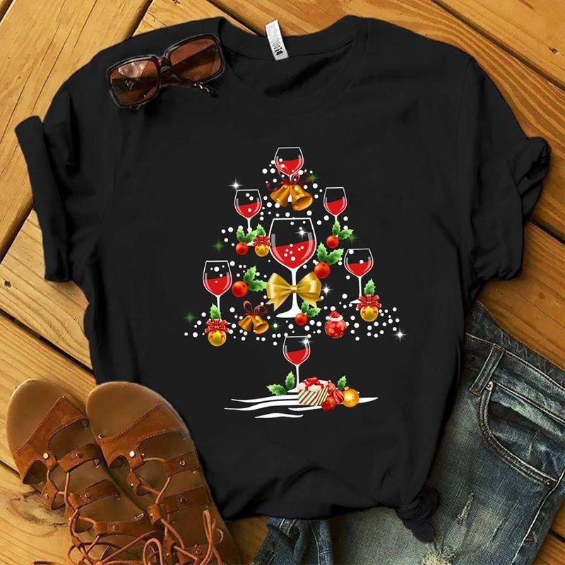 Wine Glass Christmas Tree T-shirt Black A8