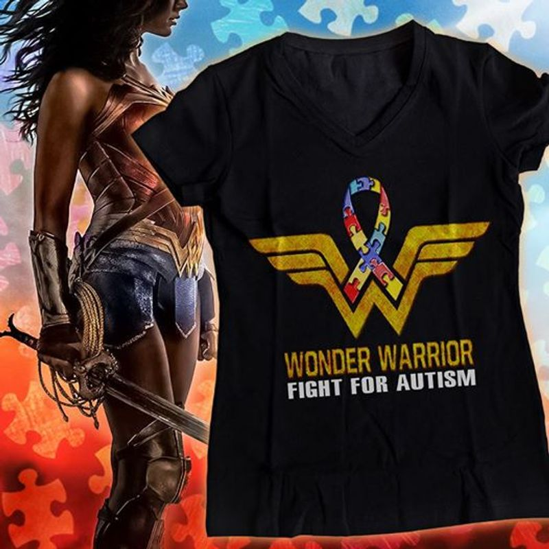 Wonder Warrior Fight For Autism  T-shirt Black B1