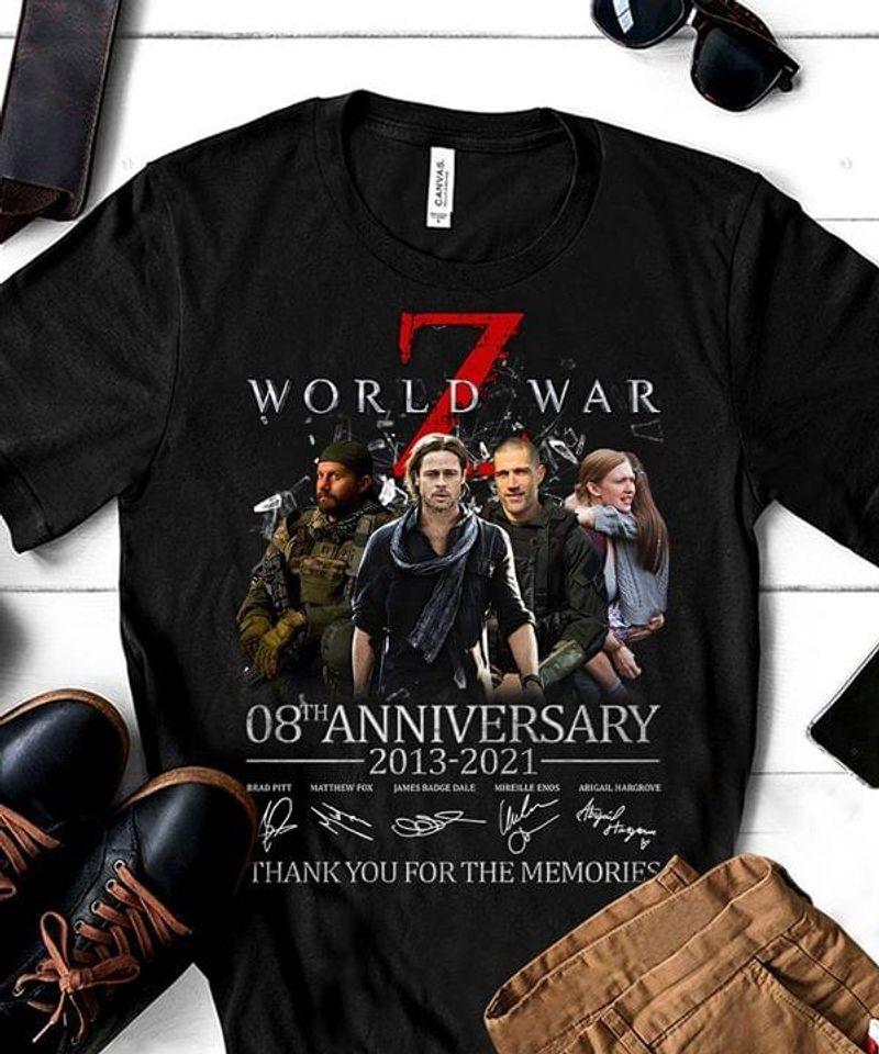 World War Z T Shirt World War Z 08th Anniversary Signatures Shirt Black T Shirt Men And Women S-6XL Cotton