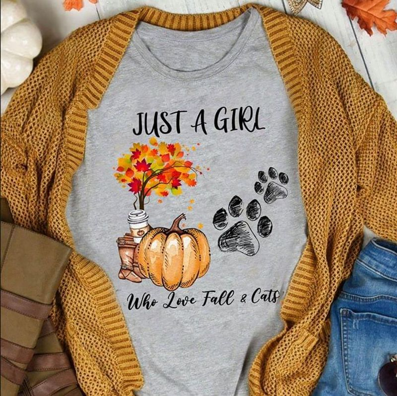 Yellow Tree Leaves Pumpkin Boots Just A Girl Who Love Fall And Cat Sport Grey Sport Grey T Shirt Men And Women S-6XL Cotton