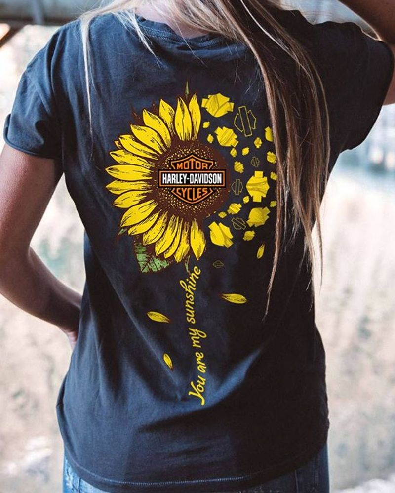 You Are My Sunshine Harley Davidson Sunflower T Shirt S-6XL Mens And Women Clothing