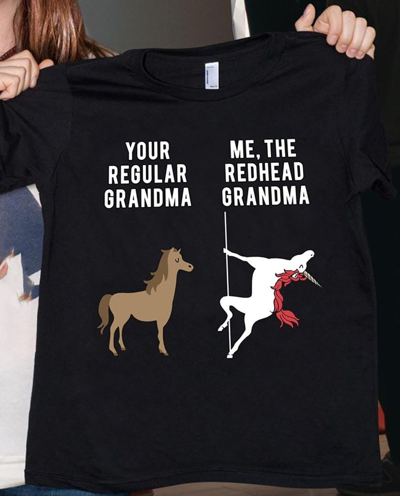 Your Regular Grandma Me The Redhead Grandma  T-shirt Black B1